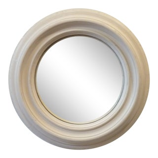 Contemporary White Washed Convex Mirror For Sale