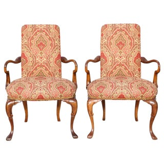 19th C. English Carved Mahogany Armchairs - a Pair For Sale