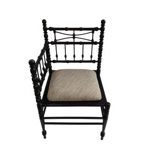Vintage Black Faux Bamboo Corner Chair For Sale