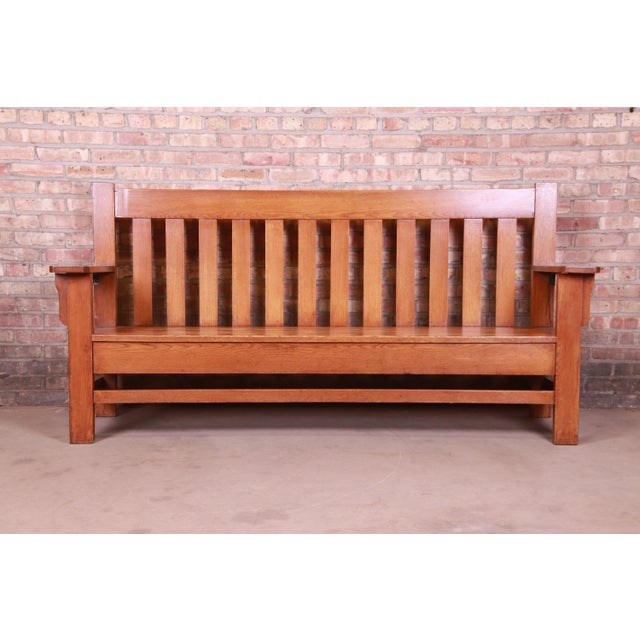 Mission Antique Stickley Style Arts & Crafts Solid Oak Settle or Bench For Sale - Image 3 of 13