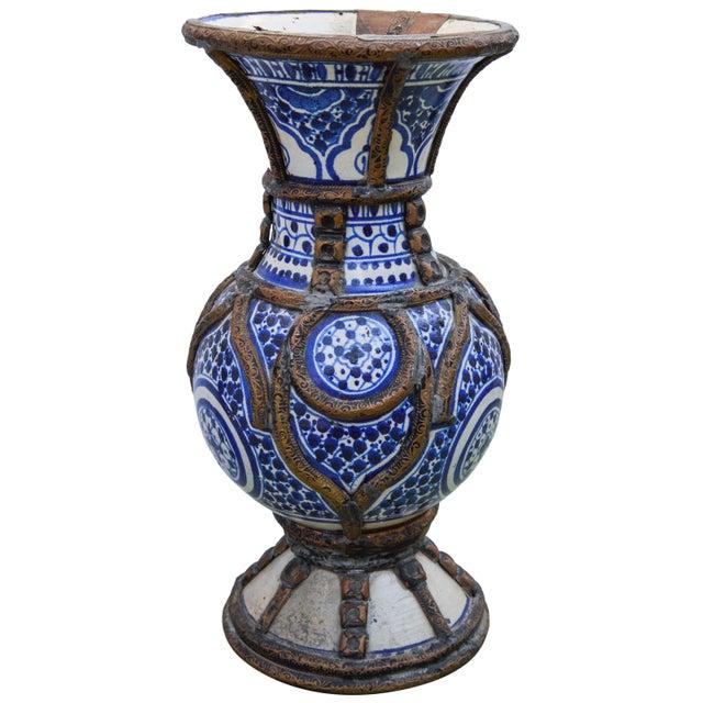 Blue Ceramic Vase W/ Fine Brass Filigree For Sale - Image 10 of 10