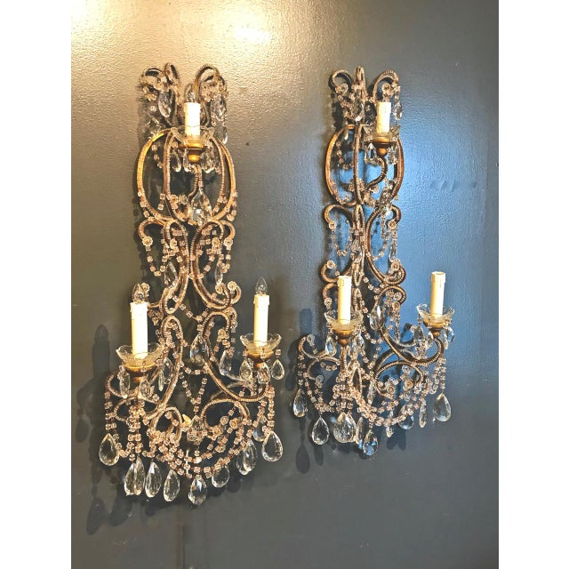 Pair Italian Beaded Sconces C. 1950s For Sale - Image 4 of 8