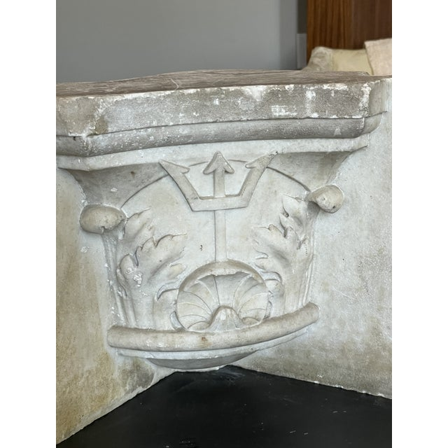 Antique Renaissance Era Continental Marble Architectural Cornice Section. Hand Carved with Poseidon God of the Sea Trident...
