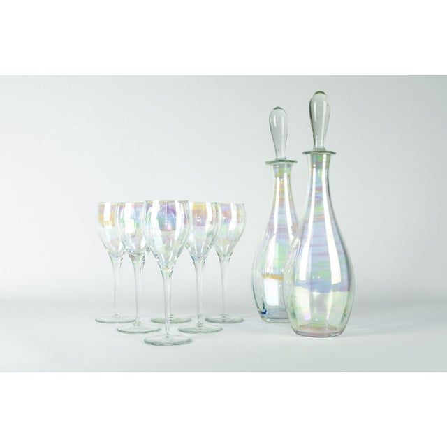 Glass Late 20th Century Murano Iridescent Crystal Decanter - Set of 8 For Sale - Image 7 of 7