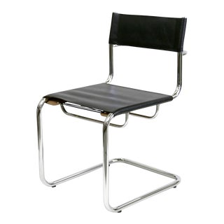 Black Leather & Chrome Frame Bauhaus Marcel Breuer Chair
