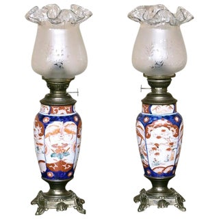 Pair of 19th Century Imari Napoleon III Period Oil Lanterns For Sale