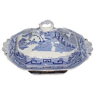 Early 19th Century Blue Willow/Transfer Ironstone Tureen For Sale