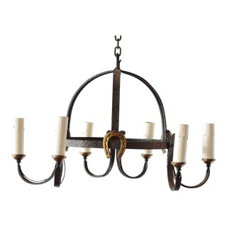 Mid 20th Century Iron Dome Chandelier For Sale