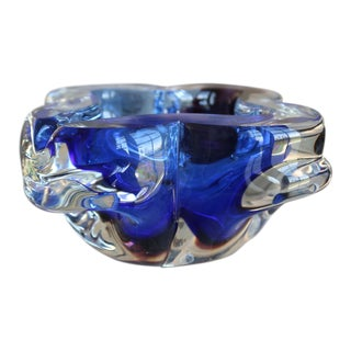 Contemporary Cobalt Murano Glass Bowl For Sale
