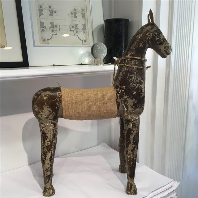 Rustic Wood & Burlap Horse - Image 4 of 7