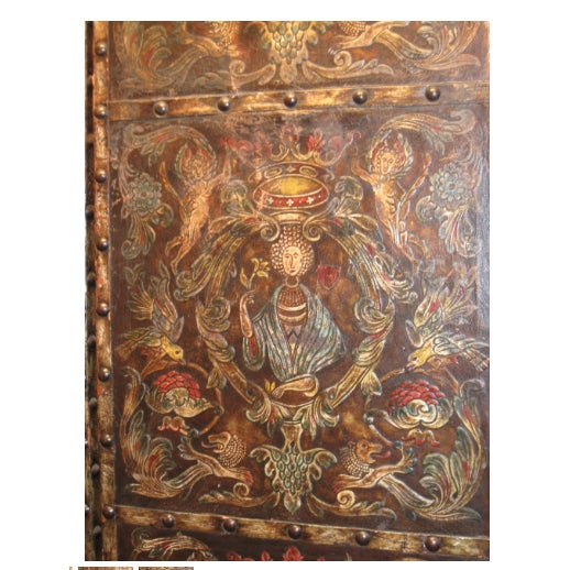 Antique Allegorical Raised Leather 3 Panel Screen, Shades of Dark Brown, Blue, Red For Sale - Image 4 of 5
