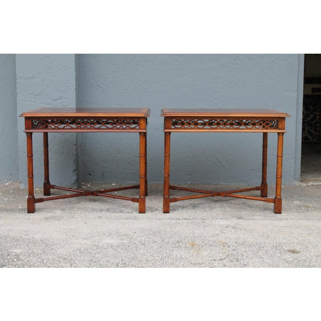 1970's Traditional Carved Wood Side Tables - A Pair - Image 3 of 11