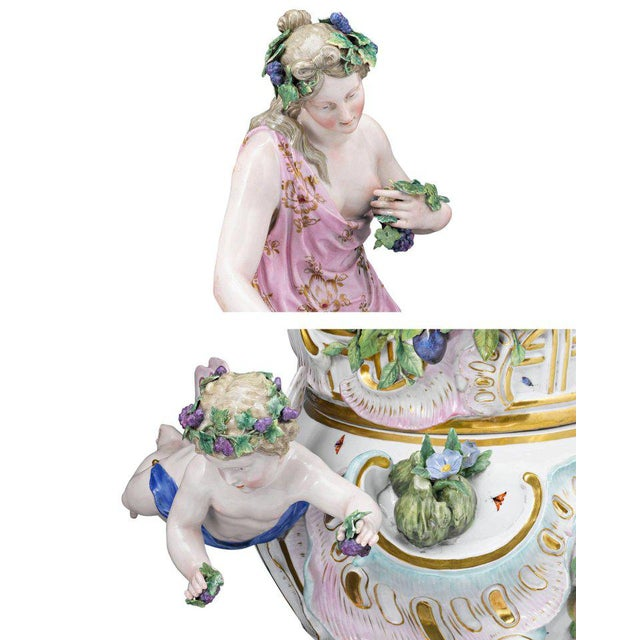 Mid 19th Century Meissen Autumn and Summer Porcelain Urns For Sale - Image 5 of 7