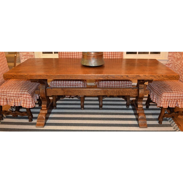 French Country Trestle Farm Table For Sale In Houston - Image 6 of 10