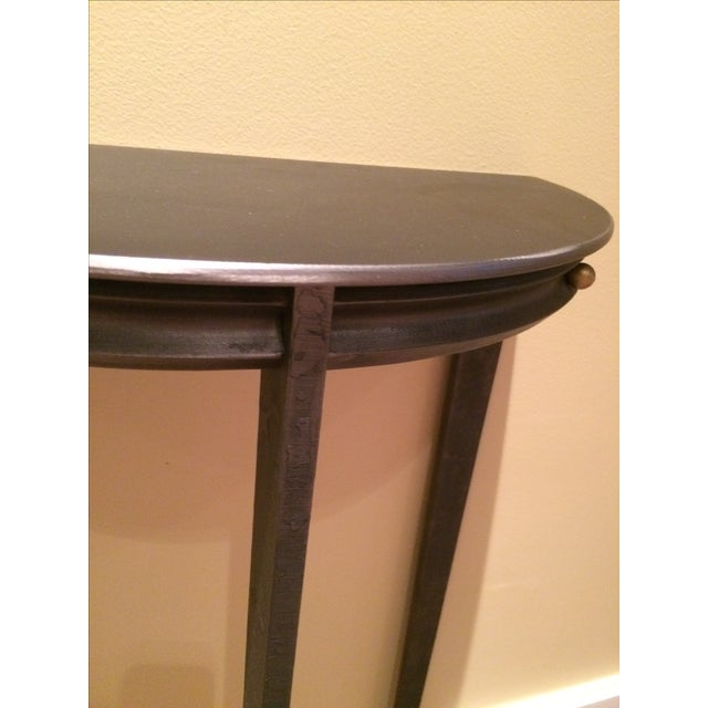 Gun Metal Silver Transitional Demilune Side Table - Image 5 of 6