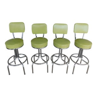 Vintage Krometal 50s Style Chrome & Lime Green Bar Stools - Set of 4 For Sale
