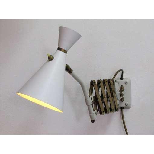 German White and Brass Scissor Lamp - Image 9 of 10