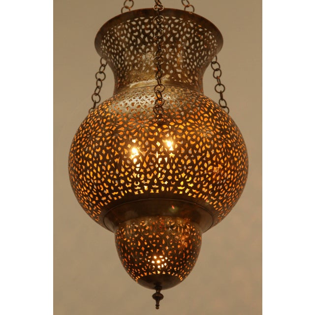 Gold Moroccan Moorish Brass Chandelier For Sale - Image 8 of 8