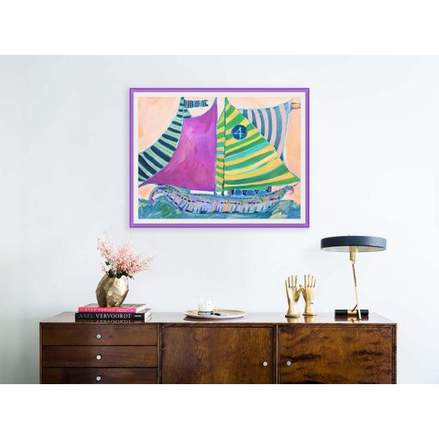 Contemporary SB Staniel Cay by Lulu DK in Dark Purple Transparent Acrylic Shadowbox, Medium Art Print For Sale - Image 3 of 4
