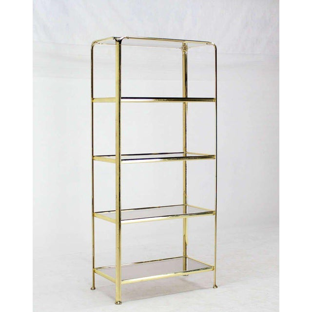 Mid Century Modern Five Tier Brass and Smoked Glass Etagere Shelving Unit For Sale - Image 4 of 10