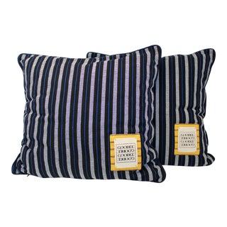 Goodee Black, Blue & White Striped Throw Pillows - A Pair For Sale
