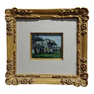 """Gabriel Spat """"An Afternoon at the Race Track"""" 1920s French Oil Painting"""