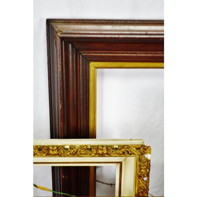 Traditional Vintage Medium Sized Wood Picture Frames - Group of 6 For Sale - Image 3 of 13