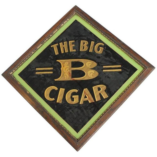 "Early 20th century American reverse painted glass sign ""The Big B Cigar""."