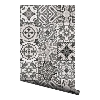 Moroccan Gray Portuguese Tile Pre-Pasted Wallpaper - 2 Piece Set For Sale