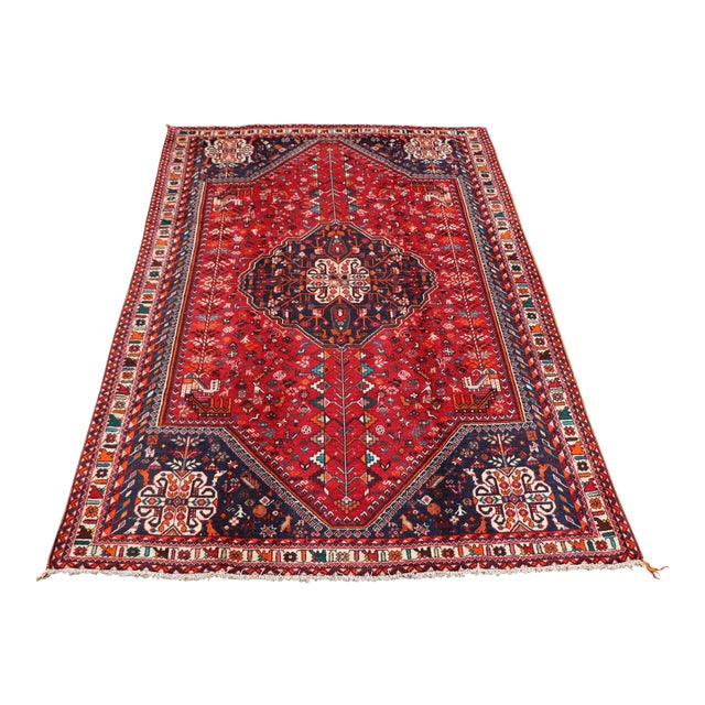 "1970's Persian Qashqai Area Rug-6'4'x9'4"" For Sale"