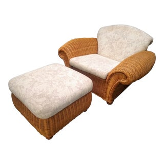 1980s Sculptural Wicker Lounge Chair & Ottoman - a Pair For Sale