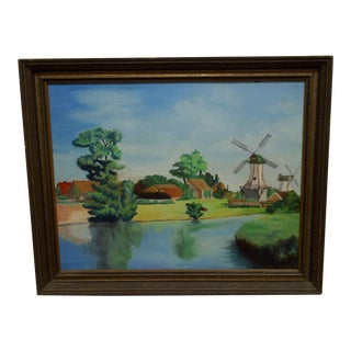 "Original Framed Painting on Board -- ""2 Windmills"""