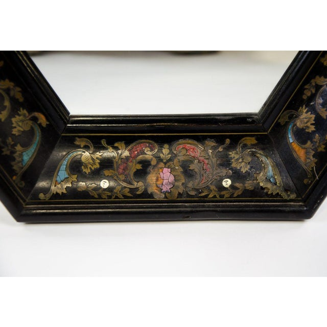 Italian Style Painted and Brass Inlaid Hexagonal Wall Mirror For Sale In Atlanta - Image 6 of 12