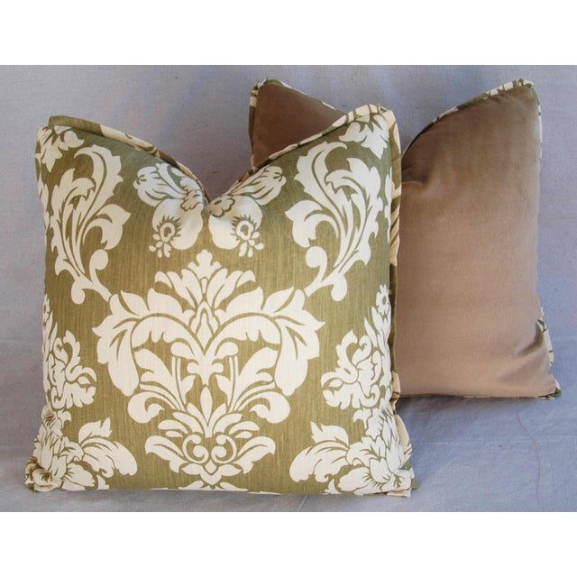 "21"" Designer Brule Fabric Randall Damask Feather/Down Pillows - Pair For Sale - Image 10 of 11"