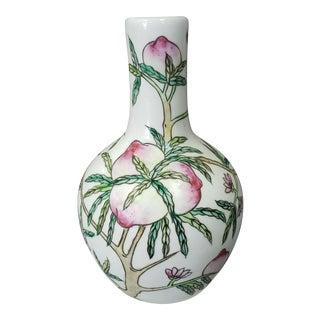 Circa 1920 Chinese Porcelain Peaches/Bats Motifs Bottle Vase (Tongzhi Mark) For Sale
