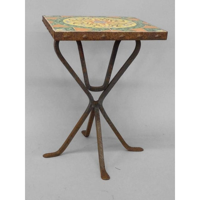 Wrought Iron Base Catalina Tile-top Occasional Table For Sale - Image 4 of 5