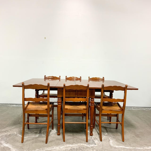 Wood 1950s Amana Furniture Walnut Drop Leaf Dining Set - 7 Pieces For Sale - Image 7 of 9