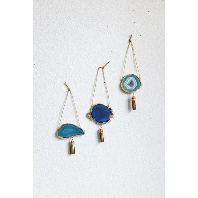 Set of 3 Gold Plated Assorted Agate Ornaments - Image 2 of 7