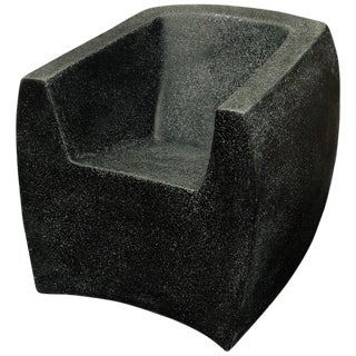 Cast Resin Curved Van Dyke' Club Chair, Coal Stone Finish by Zachary A. Design For Sale