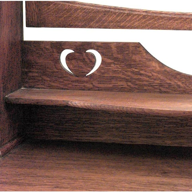 English Arts & Crafts oak 3 drawer dresser with round wrought iron handles and upper section with bevelled mirror, 2...