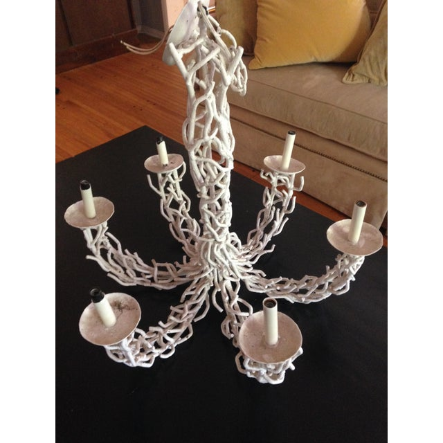 1950s 1950s Metal Coral White Chandelier For Sale - Image 5 of 9