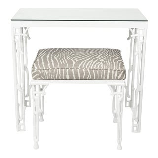 Chinoiserie White Metal Bamboo Style Console and Bench For Sale
