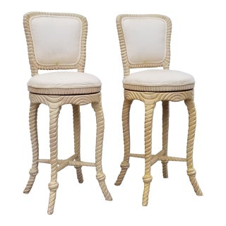 1970s Vintage Italian Hollywood Regency Carved Wood & Tassel Bar Stools- A Pair For Sale
