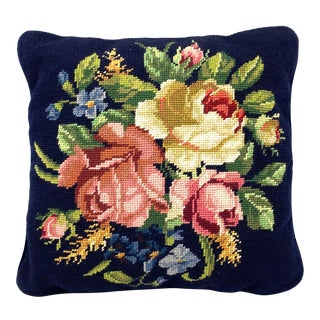 1950s Vintage Floral Needlepoint Pillow For Sale