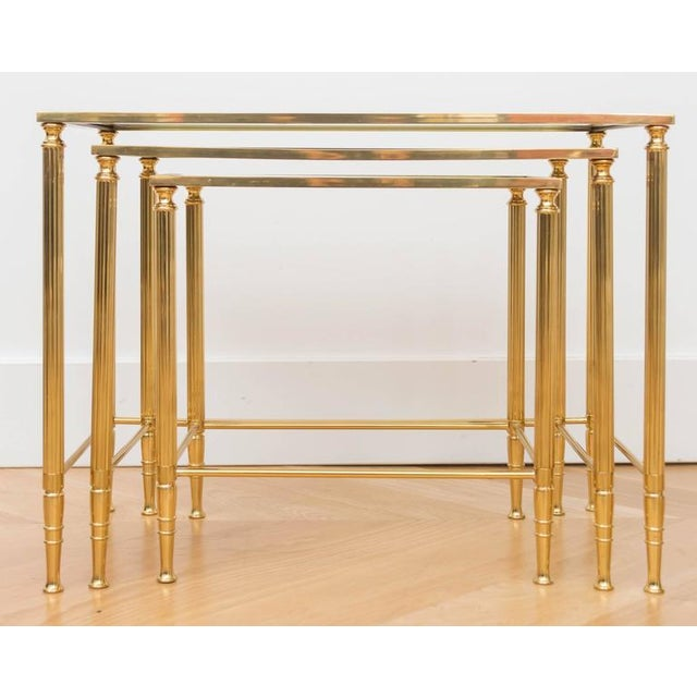 Chic set of Italian brass nesting tables.