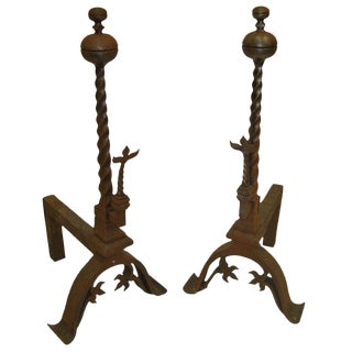 19th Century Pair of Decorative Iron Andirons or Chenets For Sale