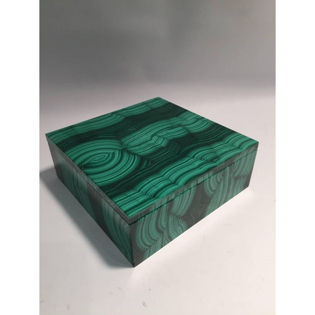 Early 21st Century Large Square Bookmatched Malachite Box with Removable Lid Made in India For Sale - Image 5 of 9