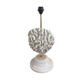 1970s Mid-Century Modern French Single Coral and Stone Table Lamp For Sale
