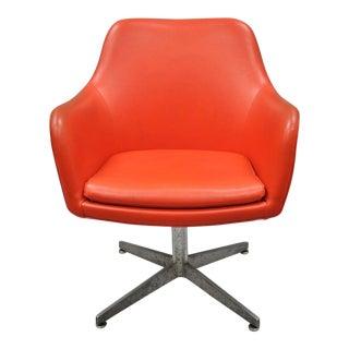 Vintage Good Form Mid Century Modern Orange Vinyl Office Desk Chair For Sale