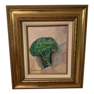 Framed Still Life of Broccoli Painting For Sale